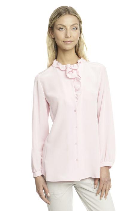 Camicia in seta con ruches