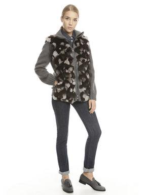 Pelliccia con inserto in lana