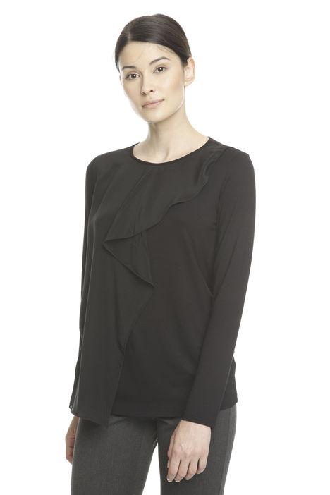 T-shirt con balza in seta