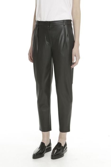 Pantaloni cropped in pelle sintetica