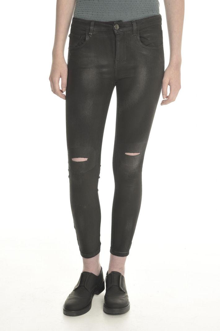 Pantaloni in denim spalmati