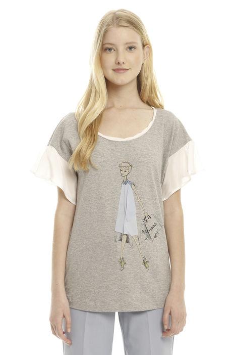 T-shirt con ricamo e stampa