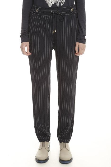 Pantalone in crepe gessato