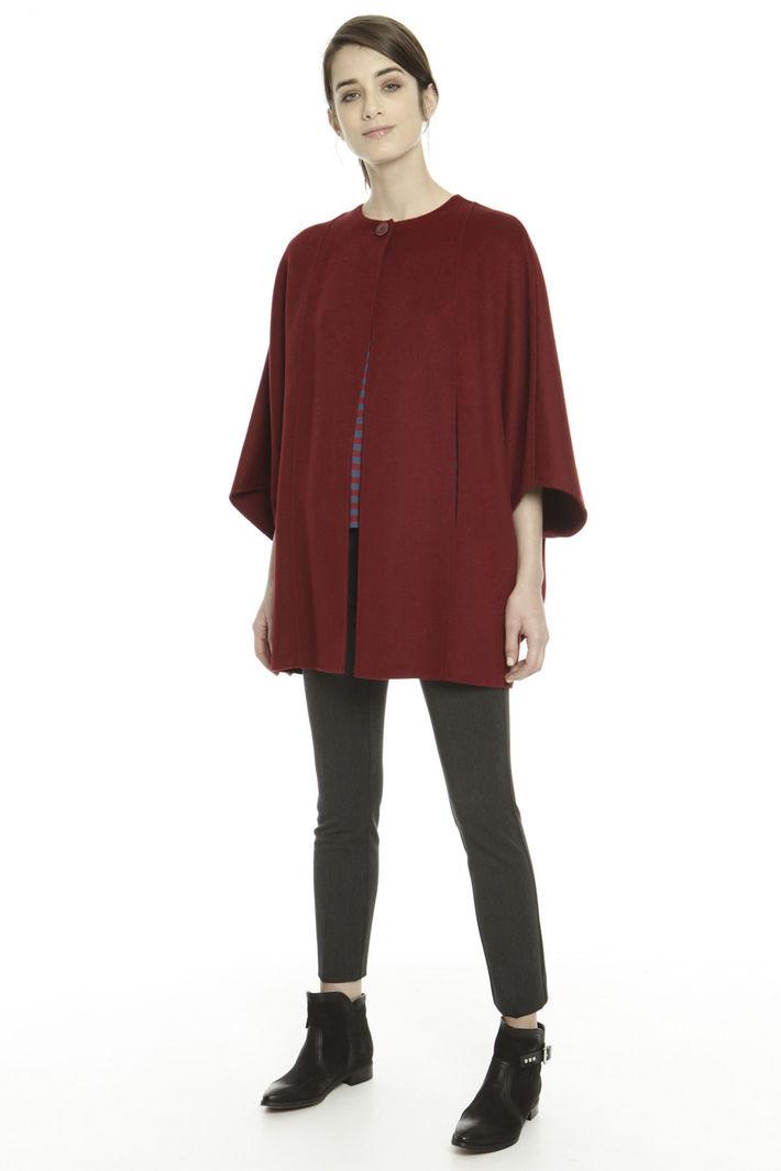 spesso Mantella in double di lana, rosso scuro - Diffusione Tessile PX96