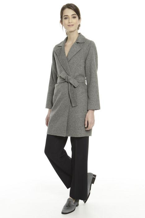 Cappotto in double con cintura