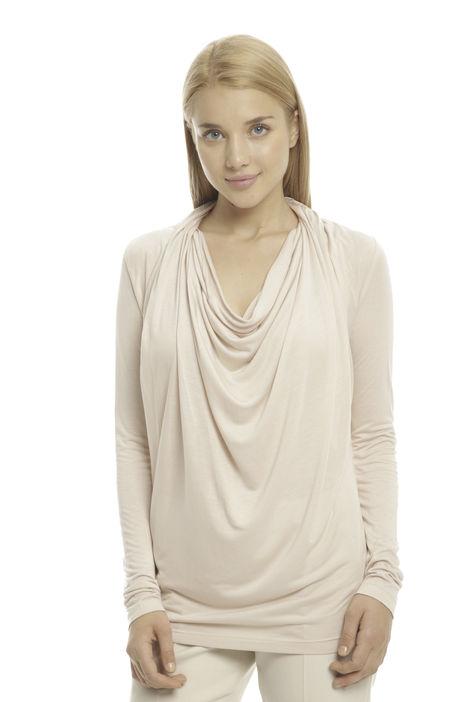 T-shirt con collo drappeggiato