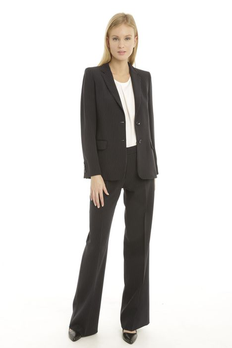 Blazer gessato in cady stretch