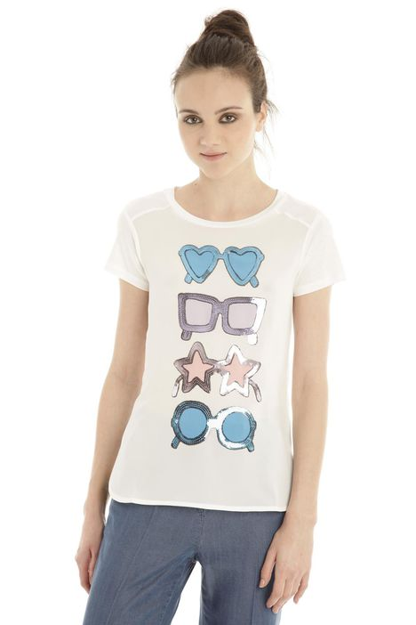 T-shirt in jersey e crepe