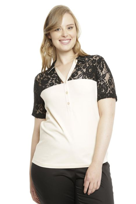 T-shirt in jersey e pizzo
