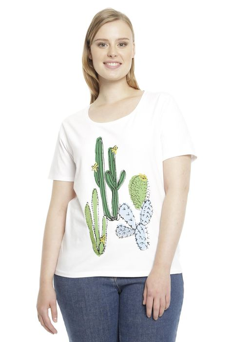 T-shirt in jersey stretch con ricamo