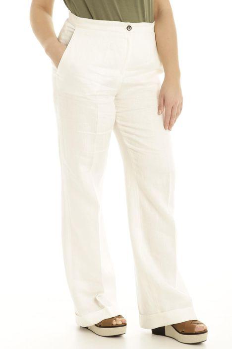 Pantalone in lino con risvolto