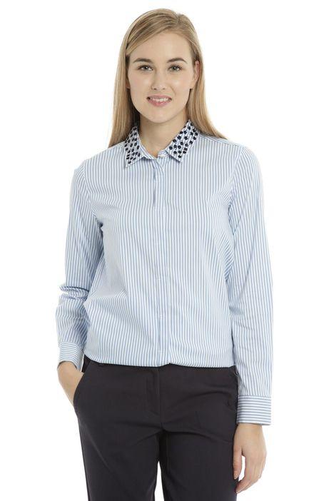 Camicia con colletto ricamato