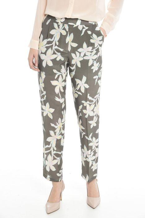 Pantalone in crepe stampata
