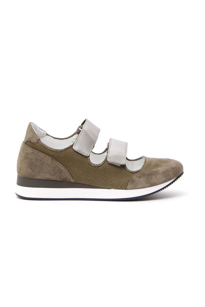Sneakers in vera pelle, verde kaki