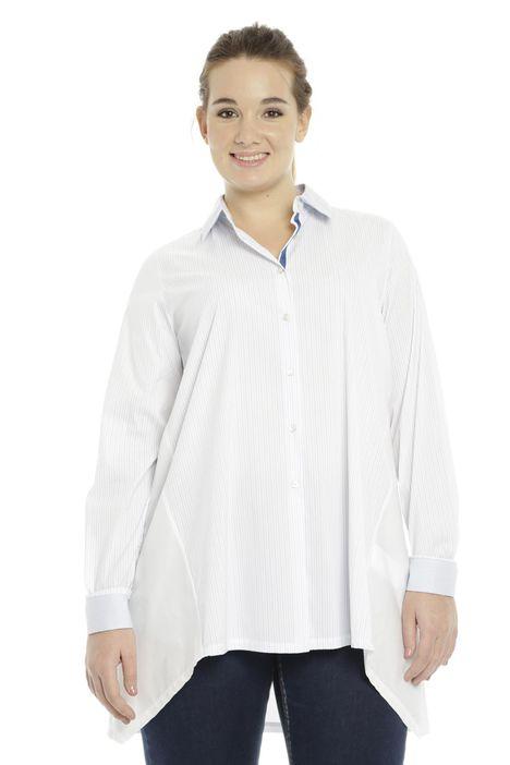 Camicia over in cotone e nylon a righe