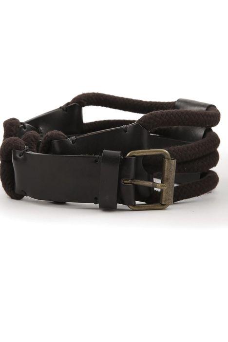 Cintura in pelle e corda