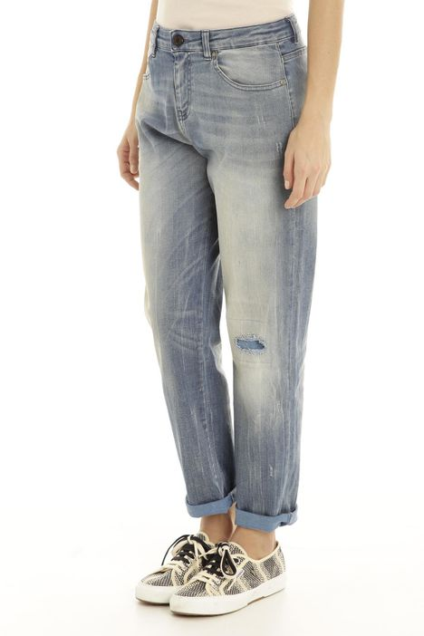 Jeans in denim con graffiature