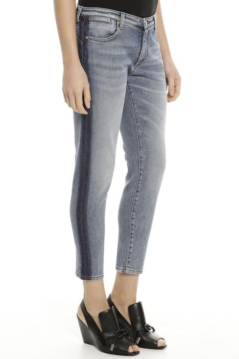 Jeans con striscia a contrasto