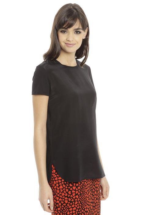 T-shirt con pannello in seta