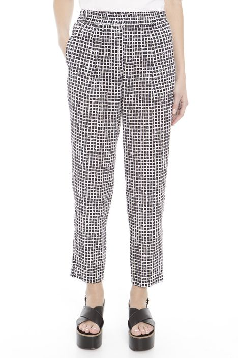 Pantaloni in seta a quadretti