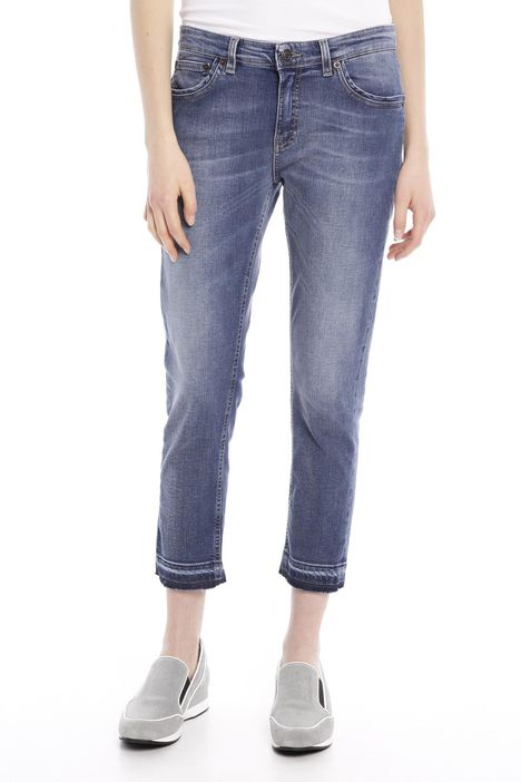 Pantalone cropped in denim