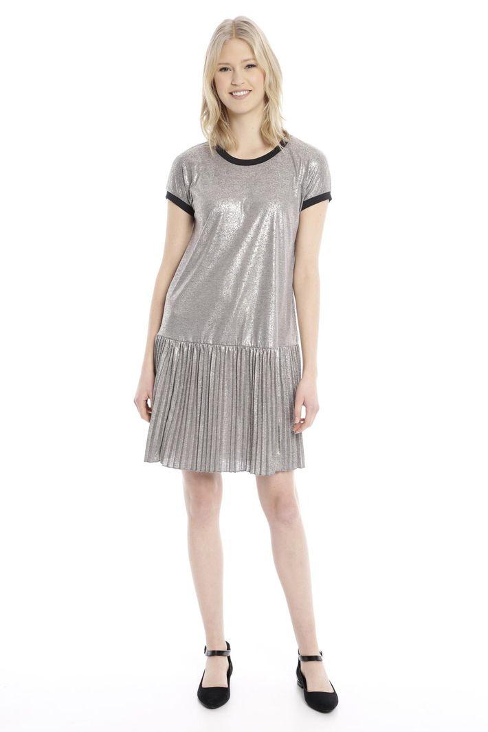 Abito in maglia con plissé, argento