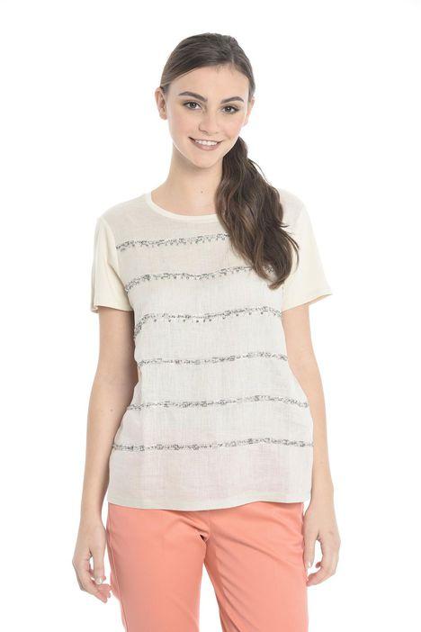 T-shirt con pannello in lino Diffusione Tessile