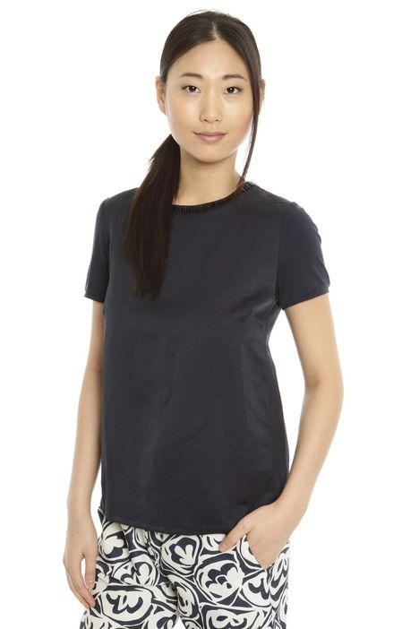 T-shirt boxy in twill di lino