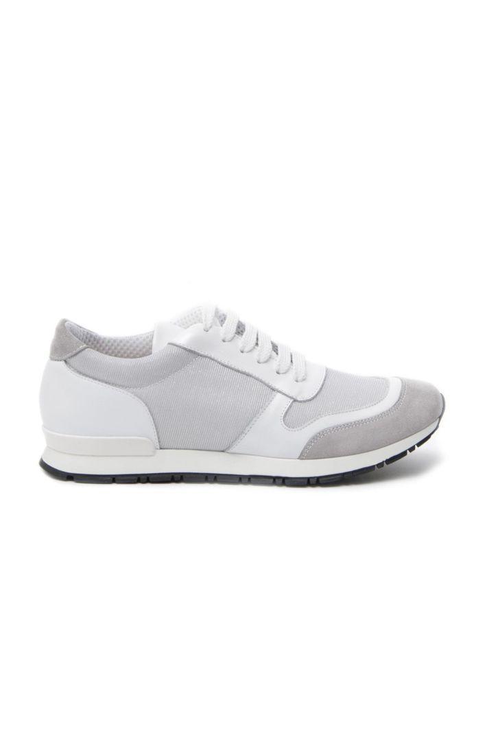 Sneakers in pelle scamosciata, bianco ottico