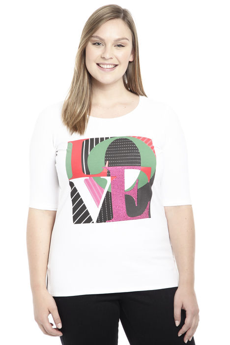 T-shirt con stampa e strass Intrend