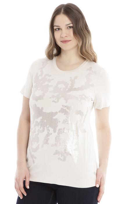 T-shirt stretch con ricamo Diffusione Tessile