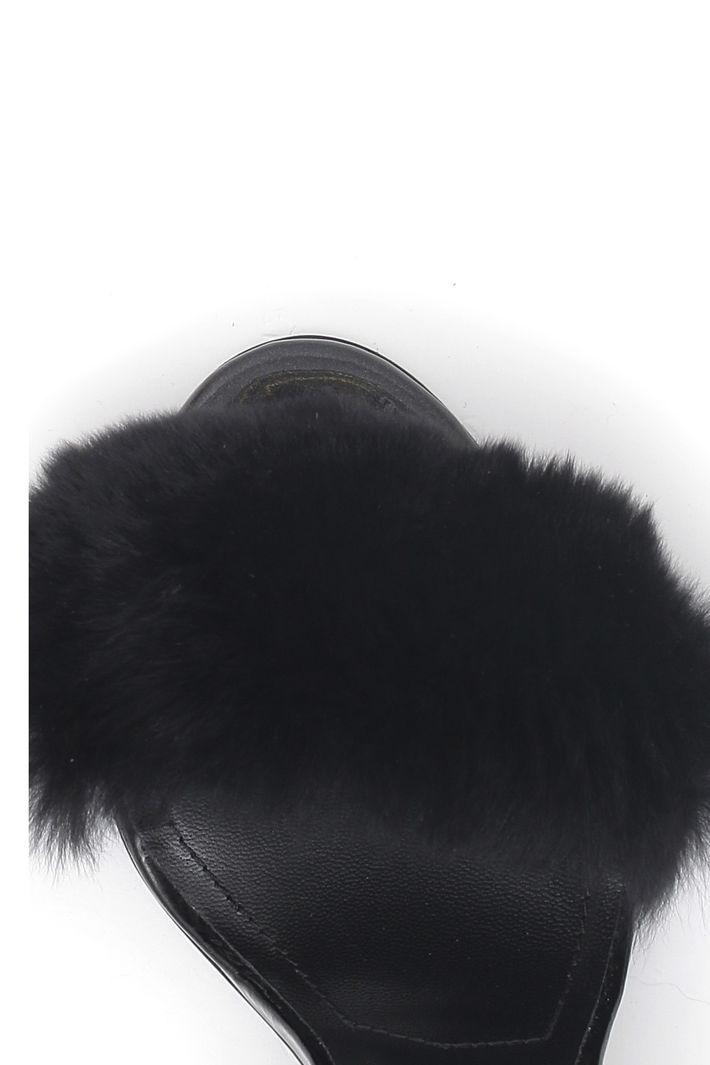 Sandalo con fascia in pelliccia Diffusione Tessile