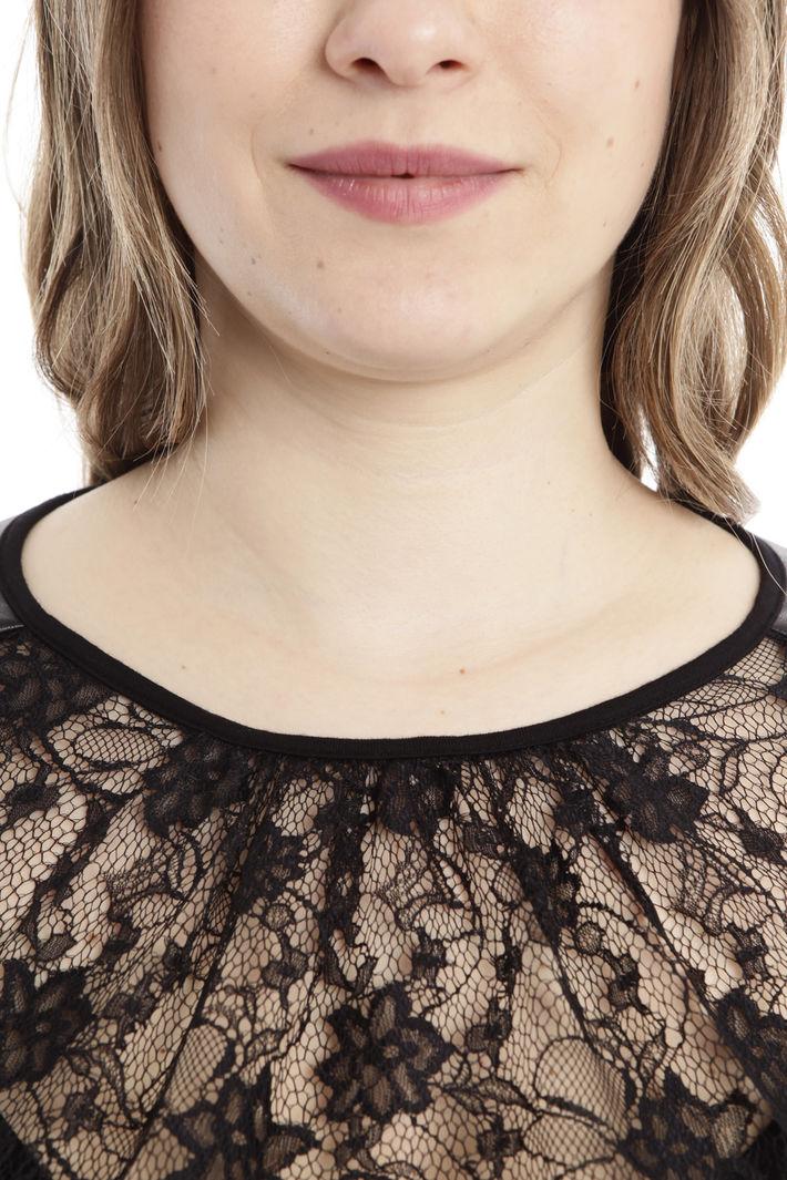 Camicia in pizzo e similpelle Diffusione Tessile