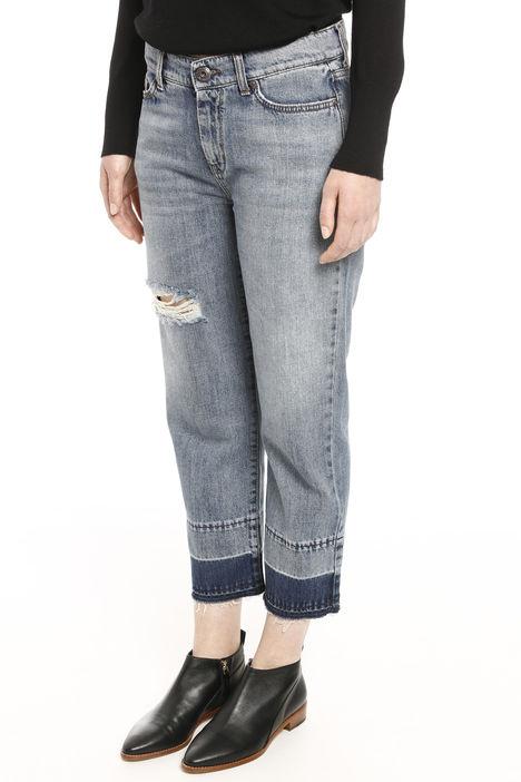 Jeans cropped con strappo Diffusione Tessile