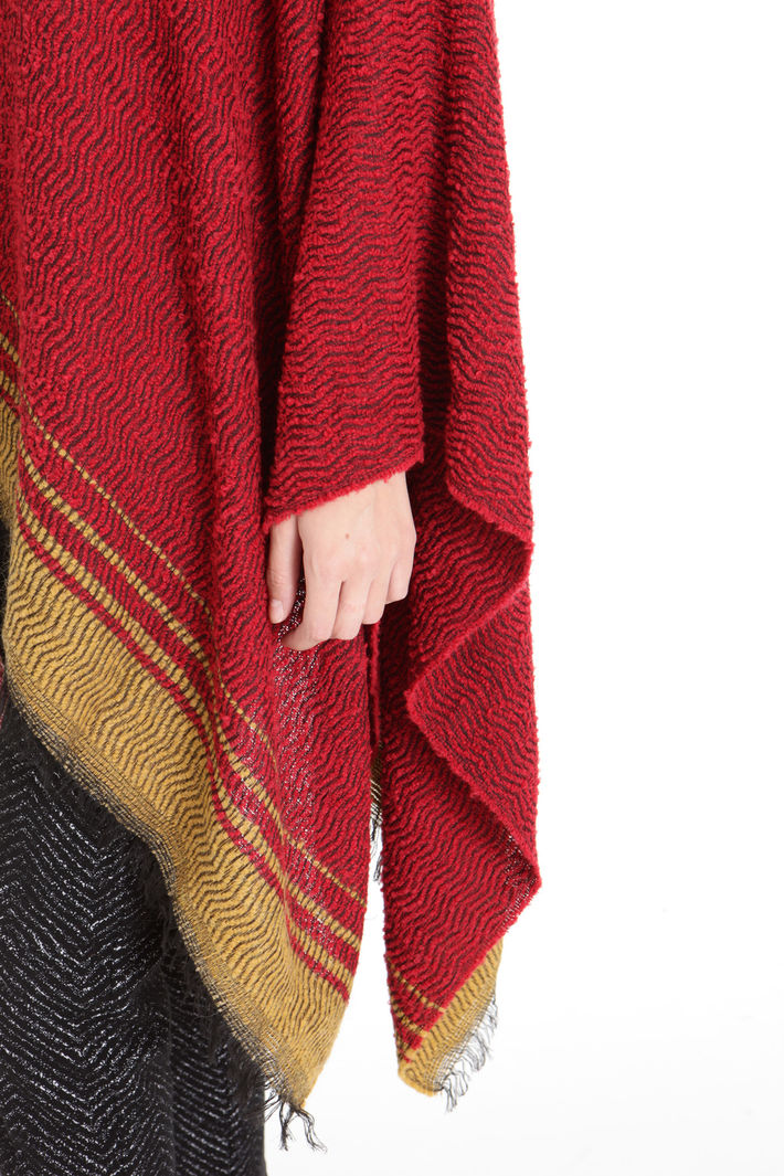 Poncho con fondo a contrasto Fashion Market