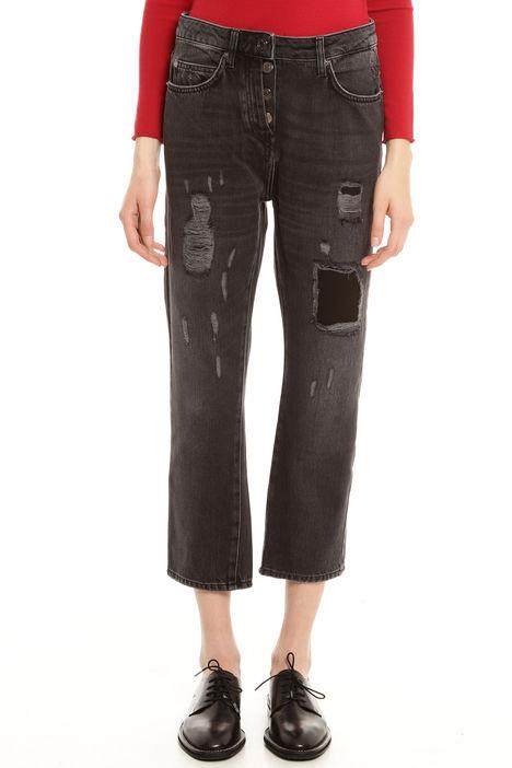 Jeans cropped con strappi a decoro Diffusione Tessile