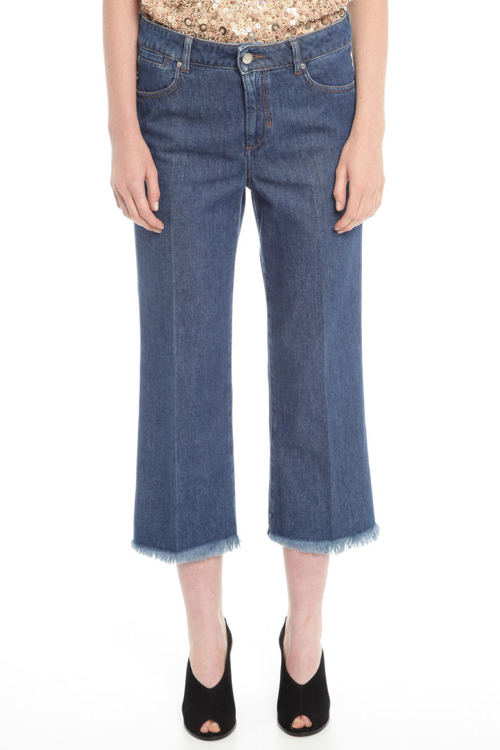 Pantalone cropped in denim Diffusione Tessile