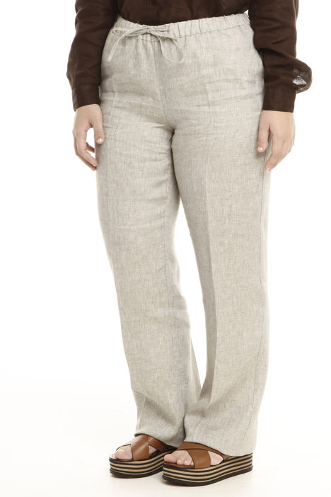 Pantalone linea dritta in lino Diffusione Tessile