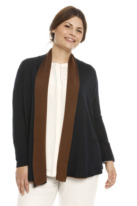 Cardigan bicolore in lana Intrend