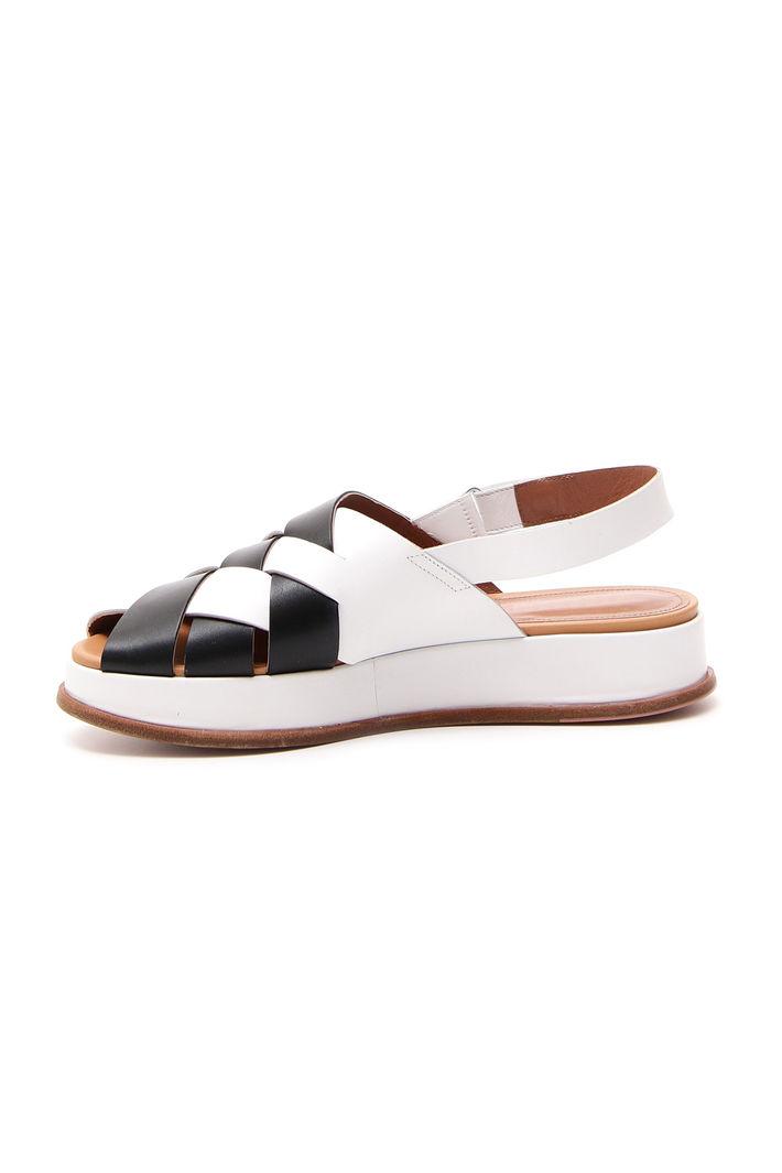Sandalo platform in pelle, bianco nero