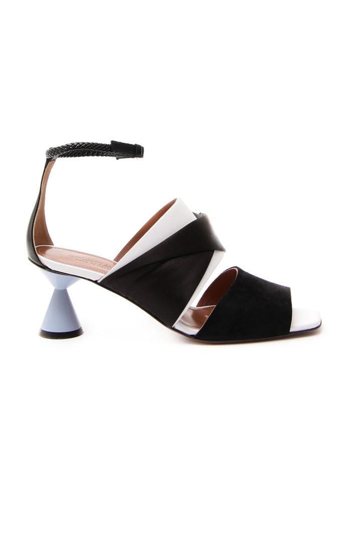 Sandali con dettaglio suede, nero azzurro