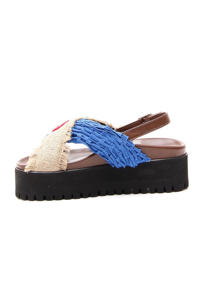 Sandalo incrociato in pelle, marrone blu