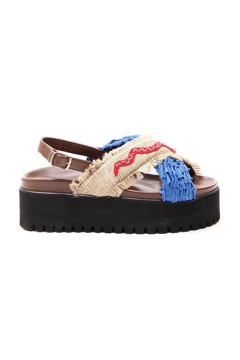 Sandalo incrociato in pelle Diffusione Tessile