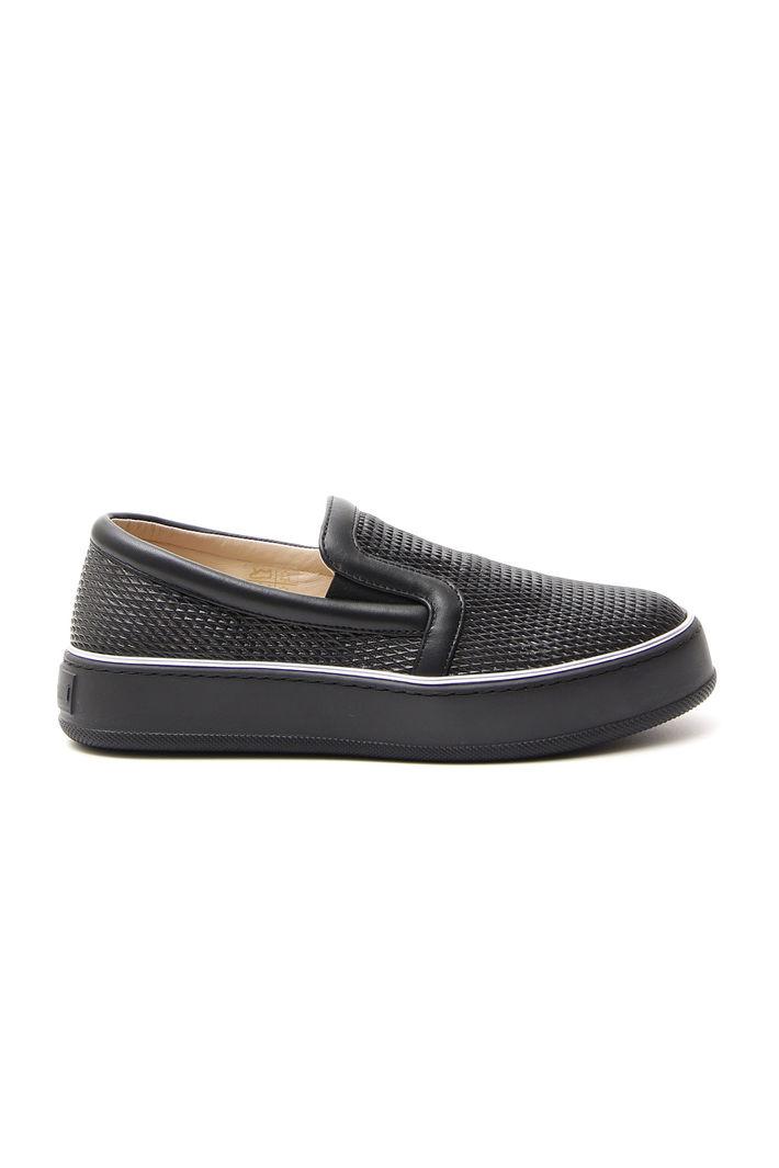 Slippers in nappa forata, nero