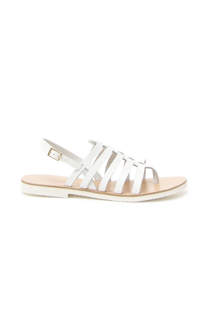 Sandali con listini in pelle, bianco