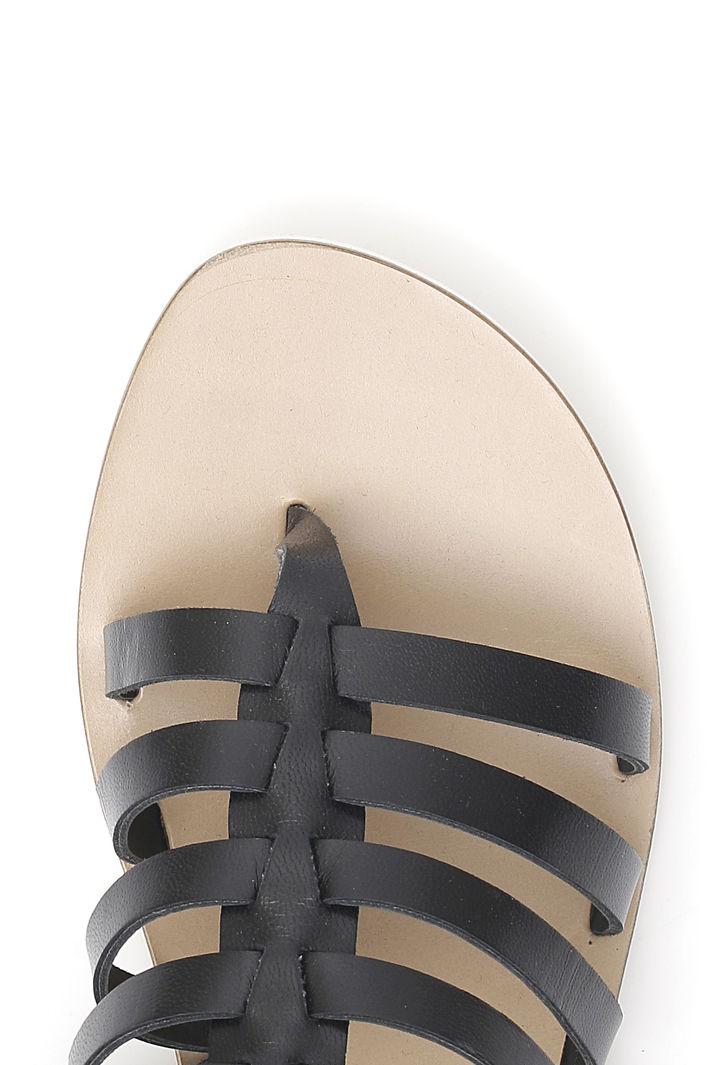 Sandali con listini in pelle, nero