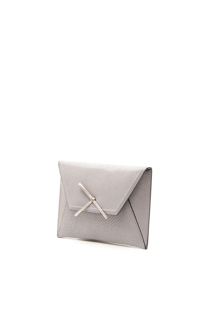 Pochette stampa vipera, grigio chiaro