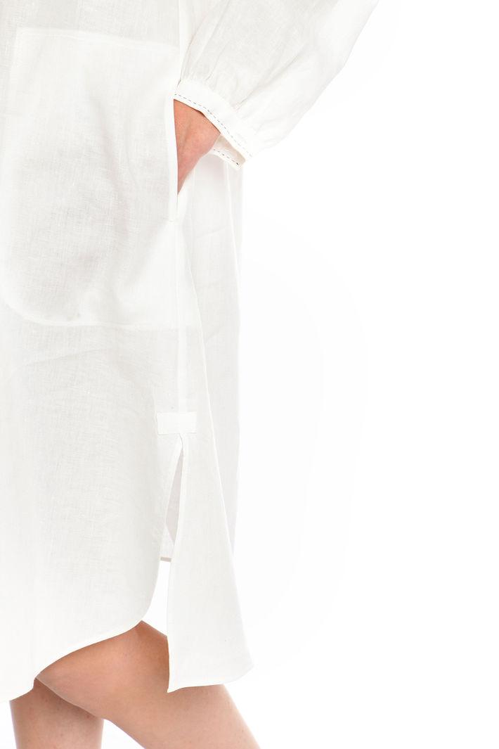 Abito in lino con impunture, bianco
