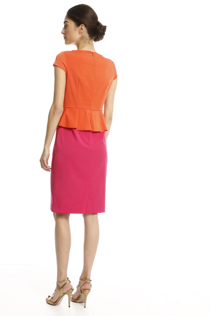 Abito In Faille Stretch Arancio Fuxia