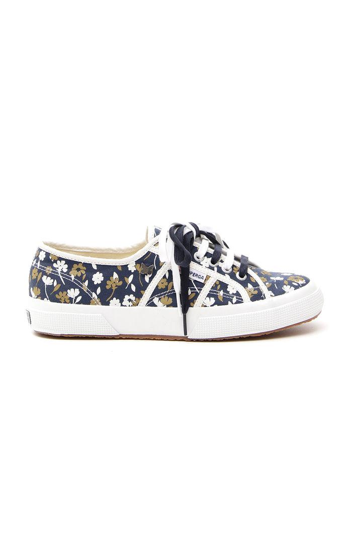 Sneakers basse in lino, blu bianco